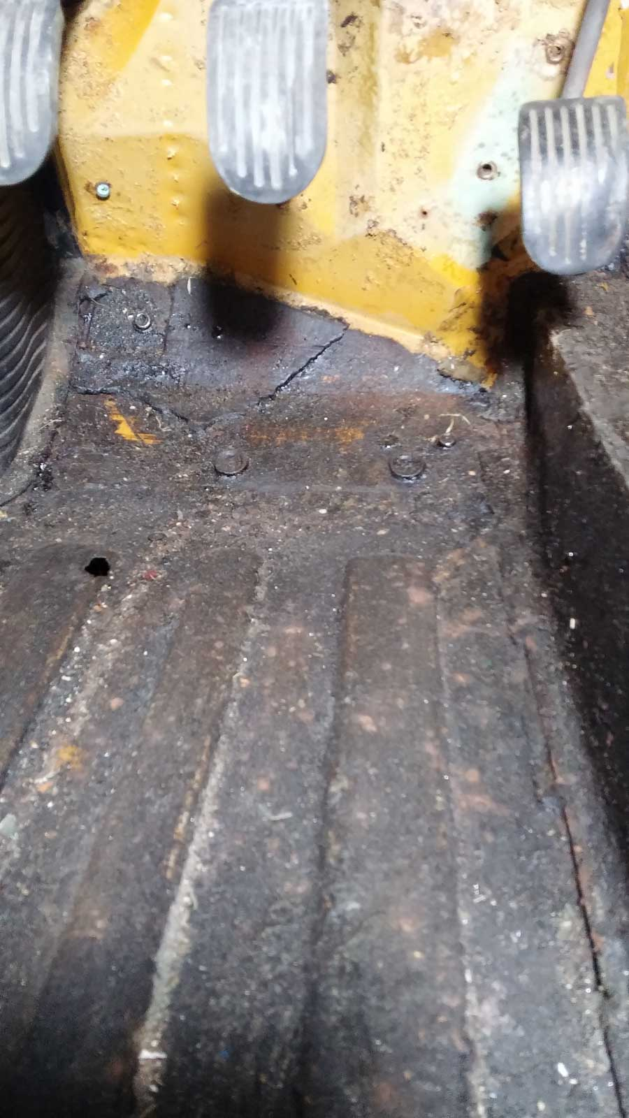 Driver's footwell - more holes in the floor